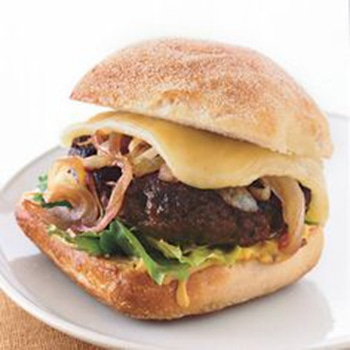bison with cabernet onions & wisconsin cheddar