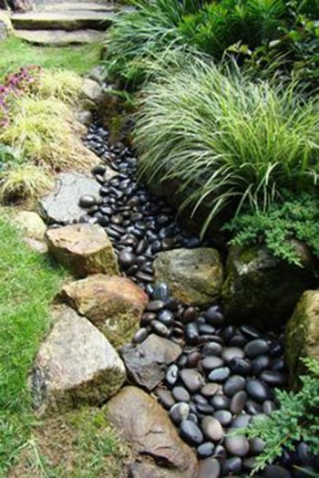 50 super easy dry creek landscaping ideas you can make for Garden pond insert