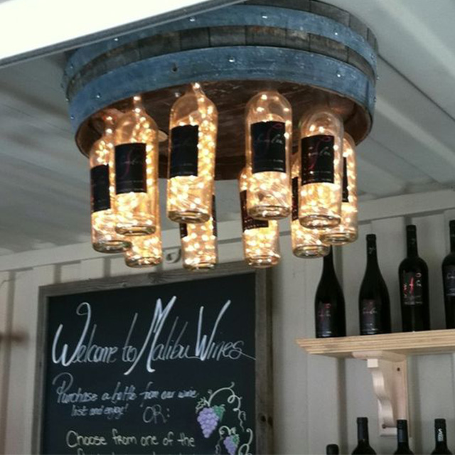 DIY Wine barrell_wine bottle chandelier