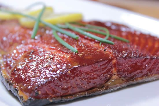 maple glazed smoked salmon