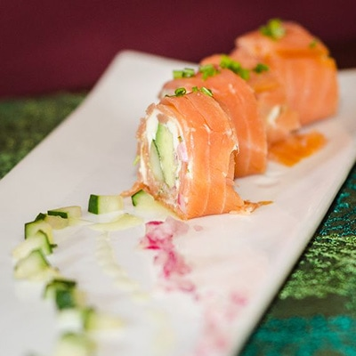 Smoked Salmon Rolls with Cucumbers, Red Onion and Avocado