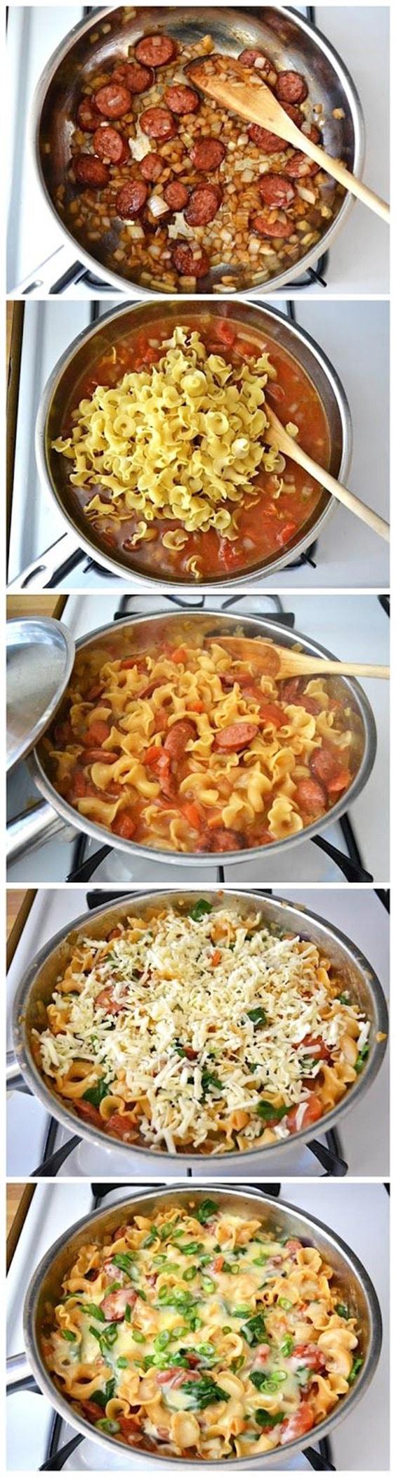 Creamy spinach sausage pasta