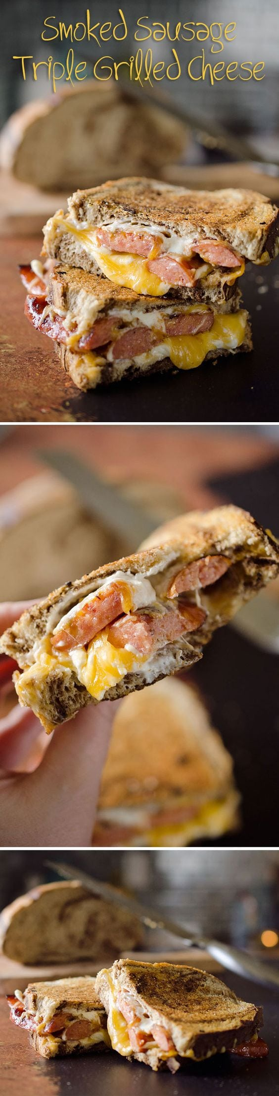 Smoked Sausage Triple Grilled Cheese