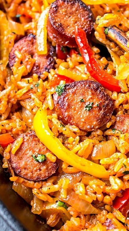 Smoked Sausage and Red Rice Skillet with Charred Onions and Peppers