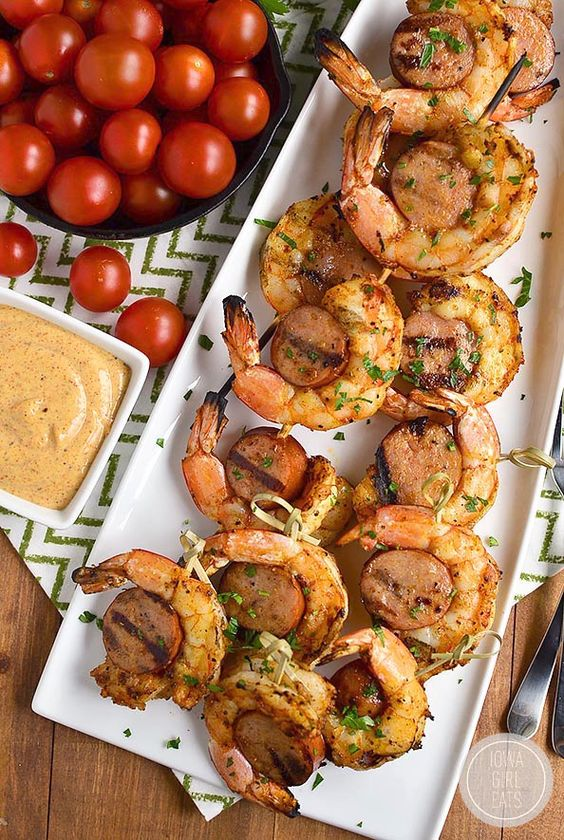 Spicy Shrimp and Sausage Skewers