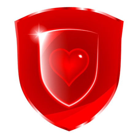 60534546 - cardio health protection symbol. glass heart symbol over the red shield.