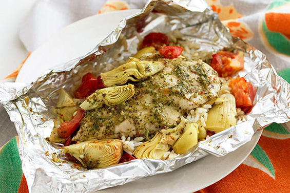 Foil Pack Chicken Artichoke Dinner