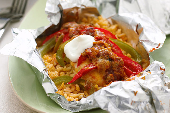 Foil Pack Chicken Fajita Dinner