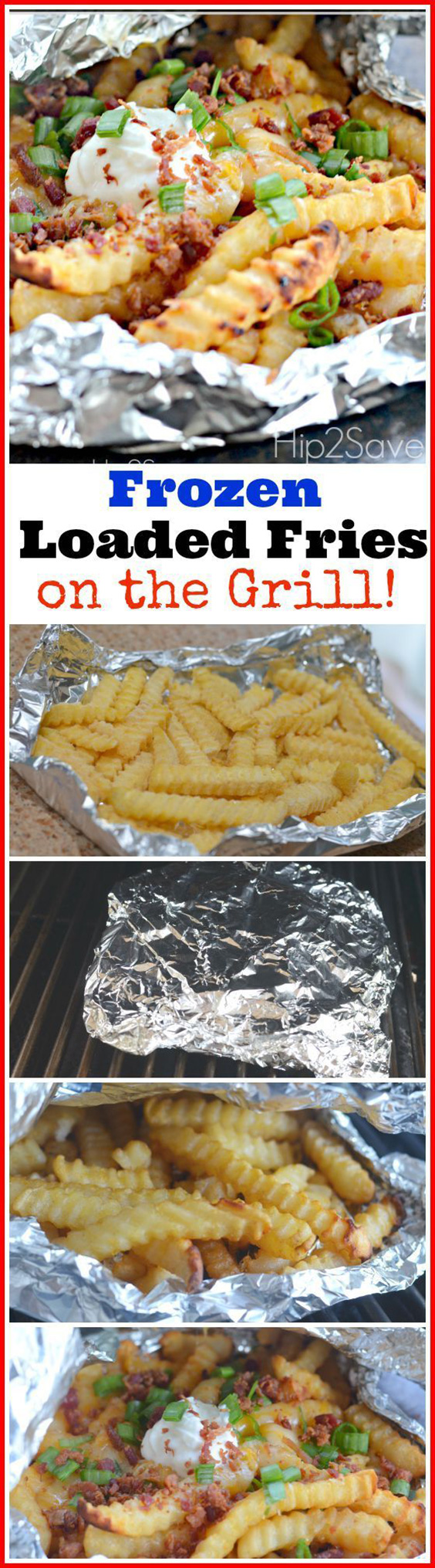 Hip2Save Frozen Loaded Fries on the grill