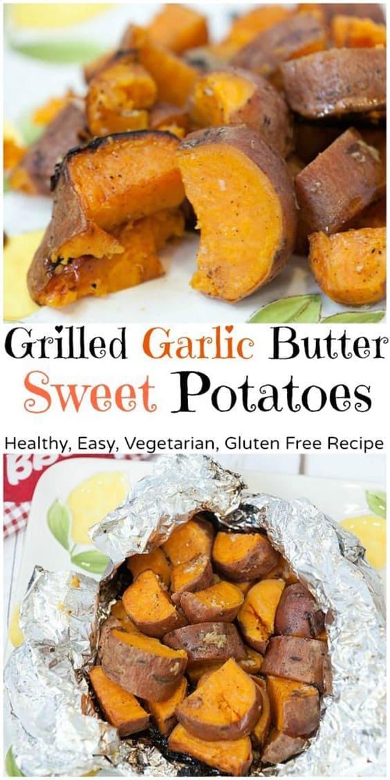 Grilled Garlic Butter Sweet Potatoes - Healthy, Easy, Vegetatian, Gluten Free Recipe