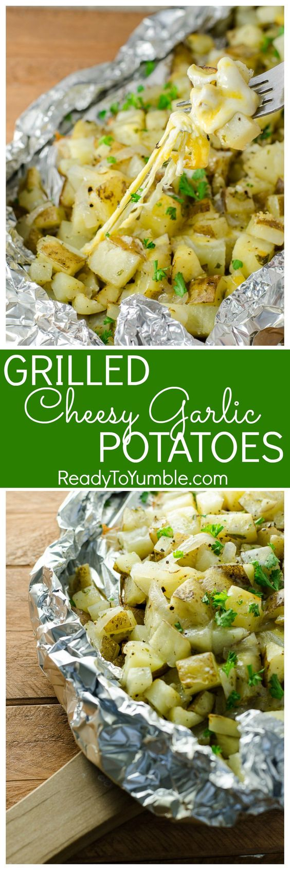 Grilled Cheesy Garlic Potatoes by ReadyToYumble.com
