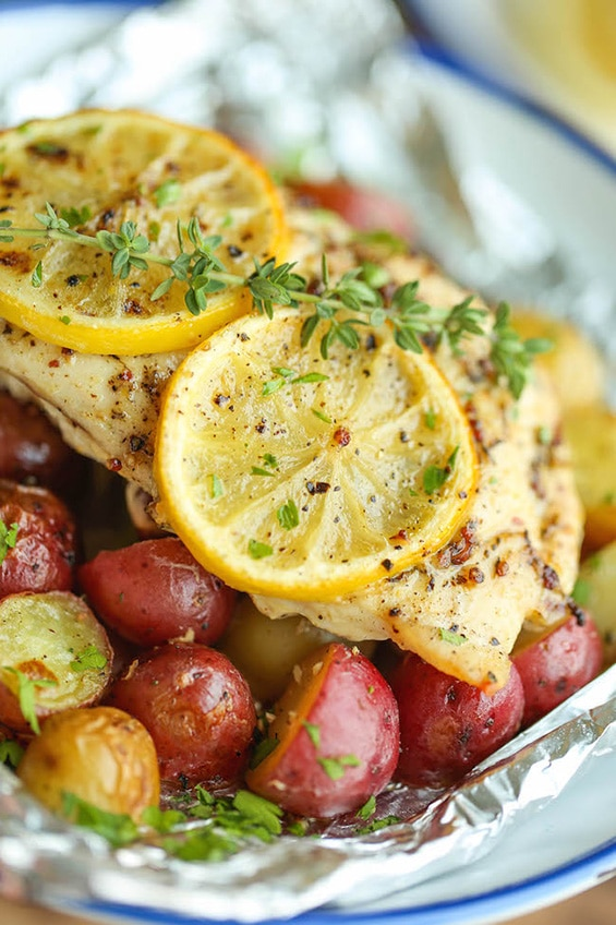 Lemon Chicken and Potatoes in Foil