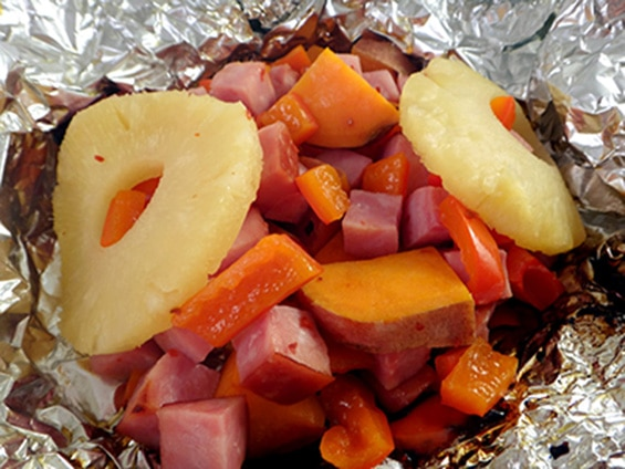 Pineapple Ham Sweet Potato Foil Packet