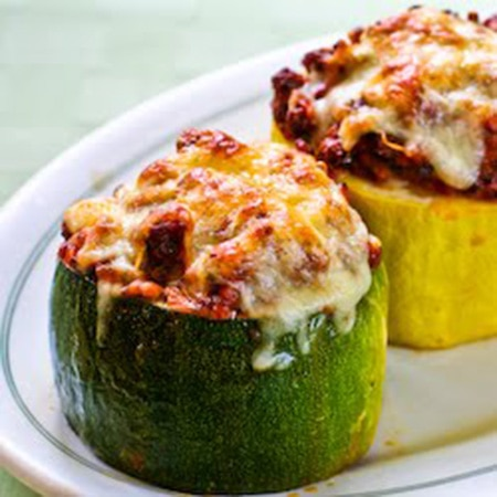meat tomato and Mozzarella Stuffed Zucchini Cups