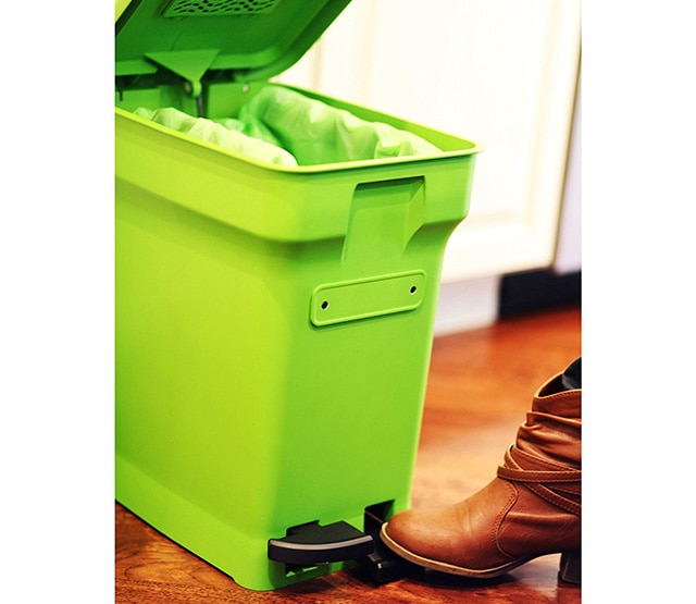the size of your bin is measured in gallons and a six gallon bin would be on the larger side for an average family kitchen that does indoor composting
