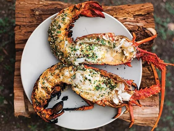 Grilled lobster with garlic parsley butter