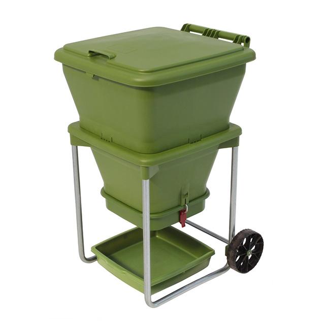 Eco-friendly 4-Tray Worm Factory Composter Waste Bin System Gardening 42x42x60cm
