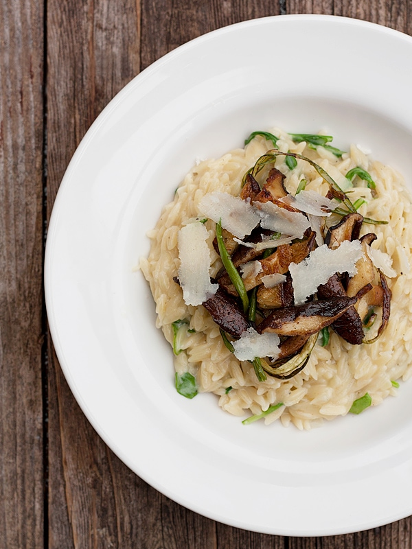 Orzo With Shiitake And Garlic Scapes