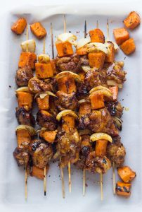 Spicy honey glazed chicken and sweet kebabs