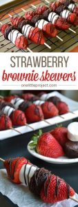 Strawberry brownie skewers by onelittleproject.com
