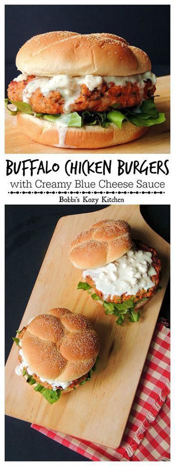 Buffalo Chicken Burgers with Creamy Blue Cheese Sauce