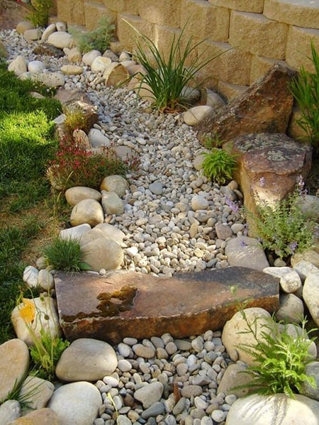 Dry creek bed ceramic fish planters