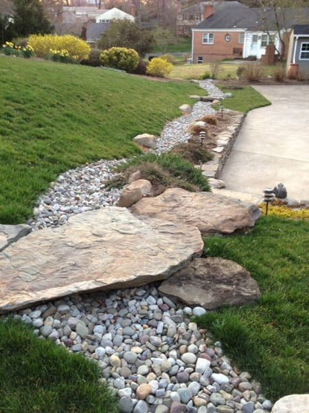 50 super easy dry creek landscaping ideas you can make for Garden design using rocks