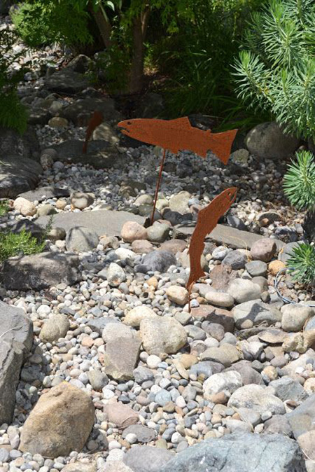 Dry Creek Bed with Fish Bisecting Garden
