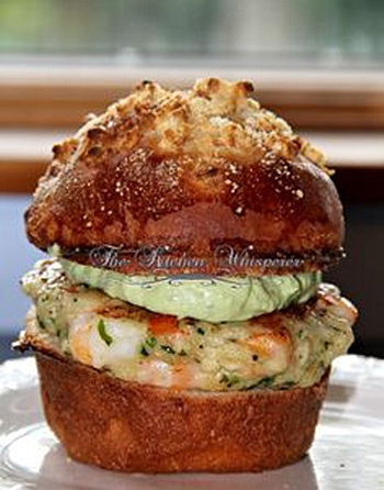 Chunky Shrimp Burgers with Avocado Aioli sauce