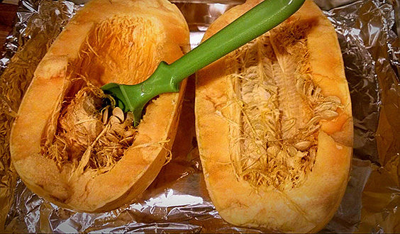 Cut in Half & Clean Squash