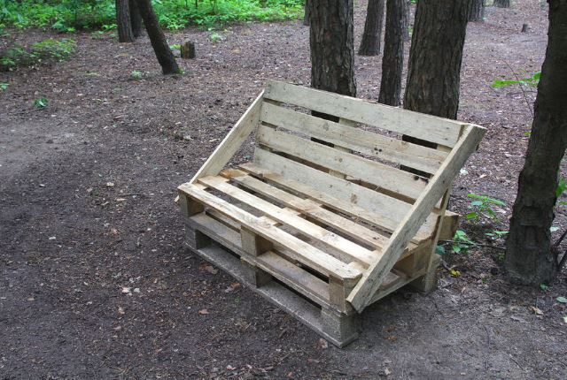 Wooden Bench with Cushions