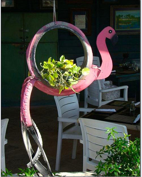 Flamingo Tire Planter