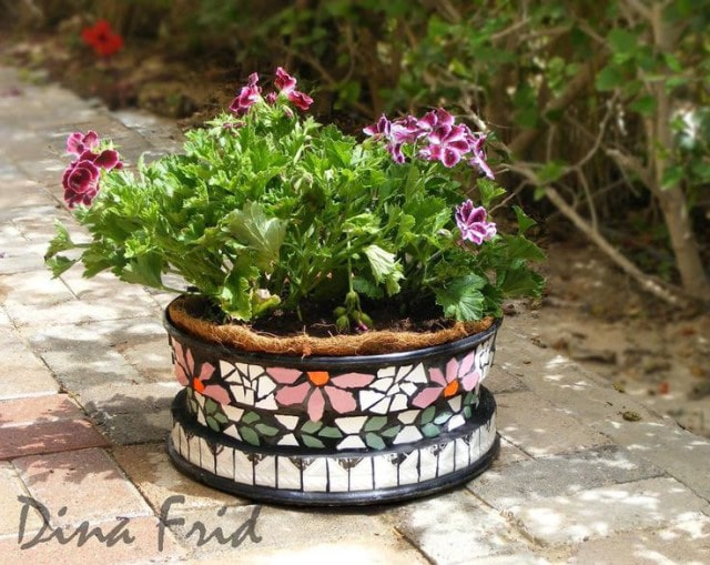 Mosaic Tire Rim Planter