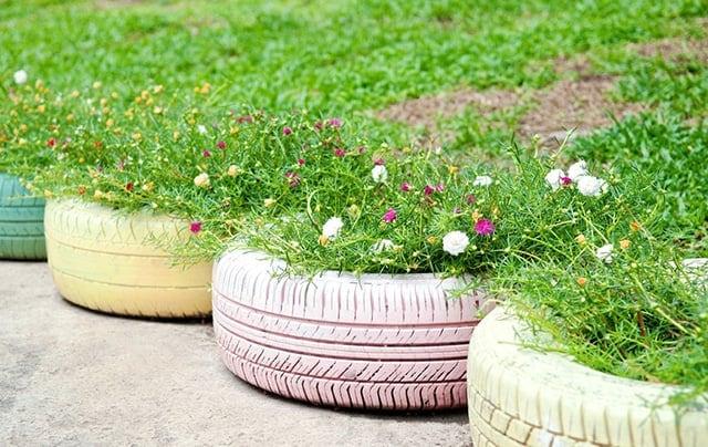 Pastel Tire Planters