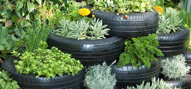 Tire Garden Retaining Wall
