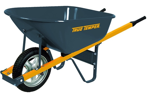 True Temper 6 Cubic Foot Never Flat Tire Steel Wheelbarrow