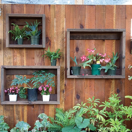 Shadowboxes hold planters