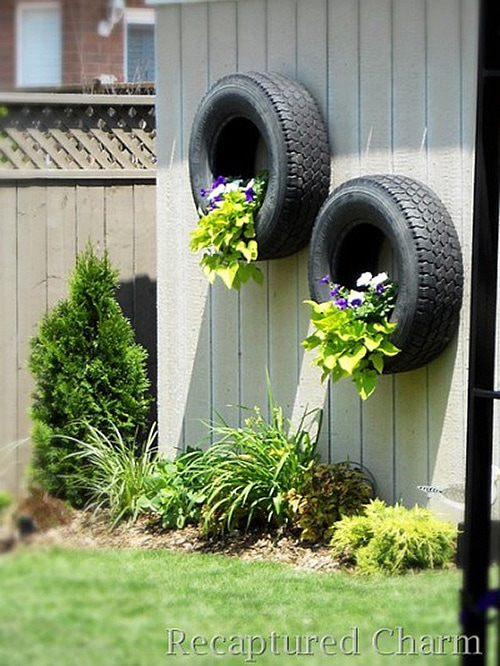 Unique Flower Pots Tire