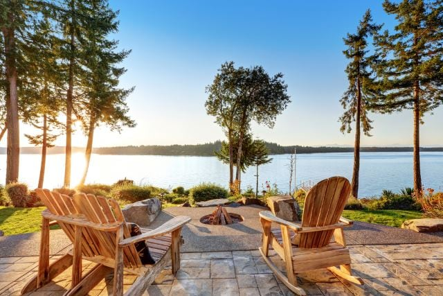 Image result for lakefront fire pit with furniture