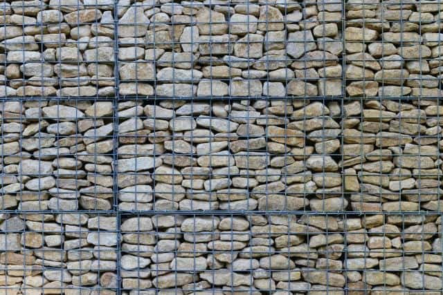 Good This Massive Wall Features A Wire Mesh That Holds All The Stones Together.  This Concept Is Easily Customizable In Shape, Size, Thickness And Color Of  Both ...