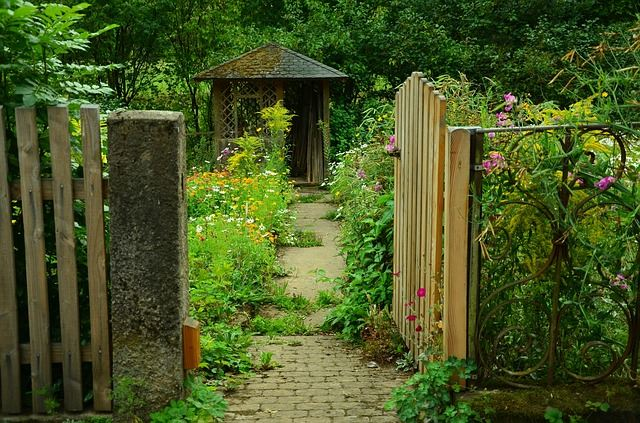 Reminiscent Of A Scene From An English Countryside, This Delightful Garden  Is Encircled By An Equally Delightful Gate. Using Various Implements In Raw  Wood, ...
