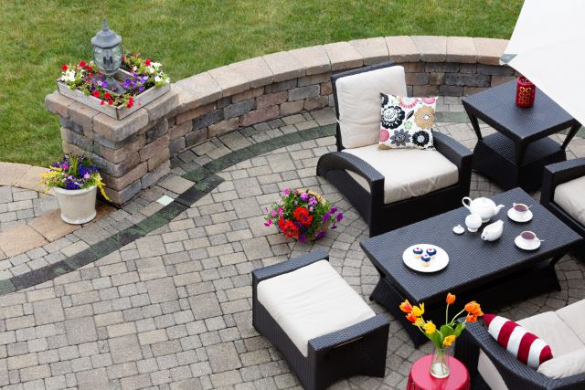 Paved Patio with Furniture