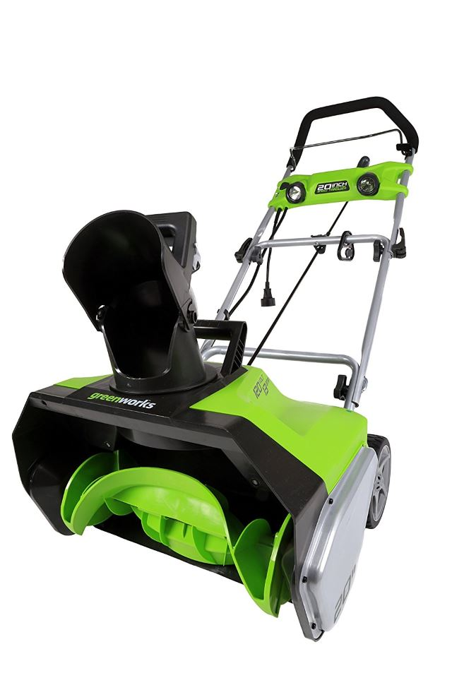 GreenWorks 2600202 13-Amp 20-Inch Corded Snow Thrower With Light Kit