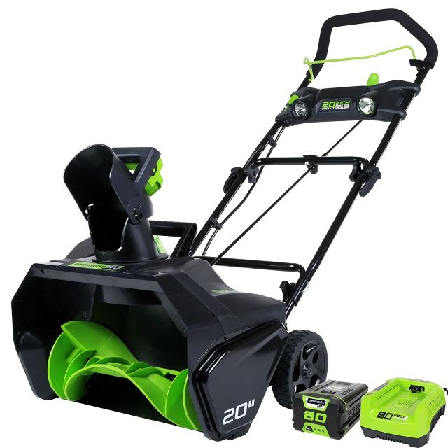 GreenWorks Pro 80V 20-Inch Cordless Snow Thrower, 2Ah Batter & Charger Included
