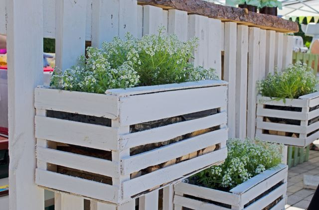 White Wooden Flower Boxes