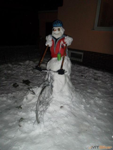 Snowman on Bike