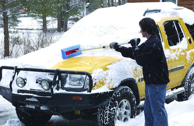"""SnoBrum Original Snow Removal Tool with 27"""" to 46"""" Compact Telescoping Handle"""