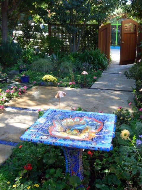 Mosaic Bird bath Sculpture