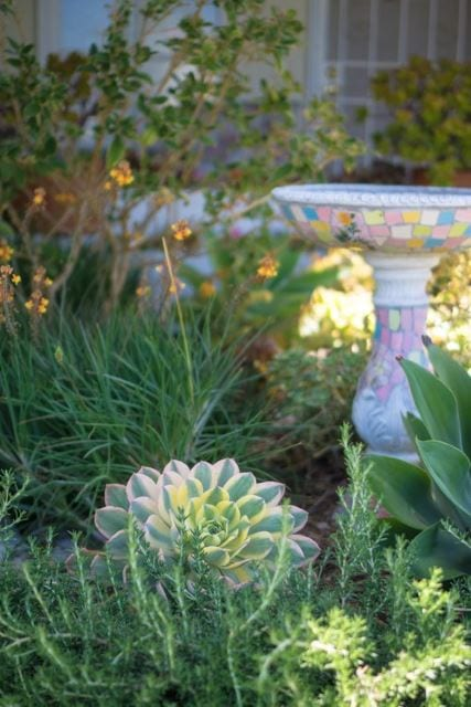Pastel Mosaic Bird Bath