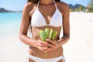 Aloe Vera Applied to Sunburn Skin